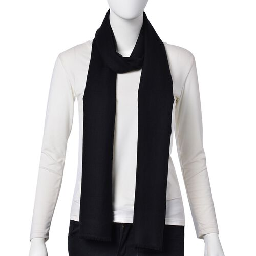 Super Soft-100% Wool Black Colour Scarf with Fringes (Size 190X70 Cm)