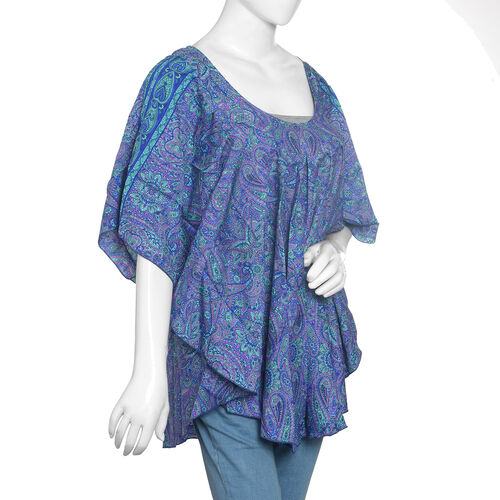 Green and Blue Colour Paisley Print Kaftan (Free Size)