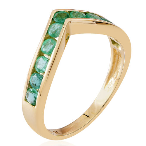 9K Yellow Gold AAA Kagem Zambian Emerald (Rnd) Wishbone Ring 1.500 Ct.