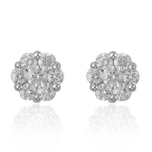 RHAPSODY 950 Platinum IGI Certified Diamond (Rnd) (VS/E-F) Pressure Set Stud Earrings (with Screw Back) 2.000 Ct.