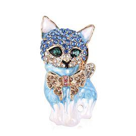 Multi Colour Austrian Crystal Enameled Kitty Brooch in Gold Tone