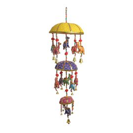 Home Decor - 3 Tier Beaded Strings with Bamboo Basket and Camel Motif and Bells Hanging - Multicolou