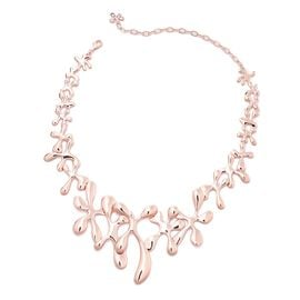 LucyQ Splash Statement Necklace in Rose Gold Plated Silver 77.54 Grams 15 with 3.5 inch Extender