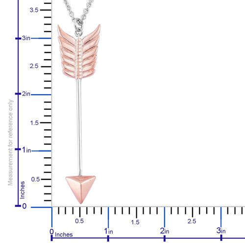 LucyQ Arrow Pendant with Chain (Size 32) in Rhodium and Rose Gold Overlay Sterling Silver, Silver wt 11.00 Gms.