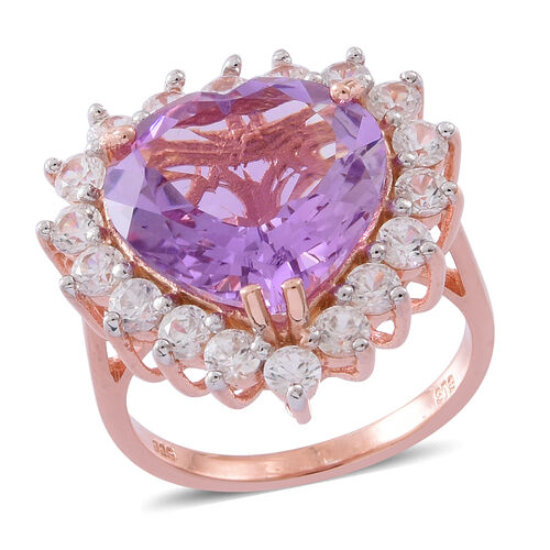 Rose De France Amethyst (Hrt 9.50 Ct), Natural White Cambodian Zircon Ring in Rose Gold Overlay Sterling Silver 12.500 Ct. Silver wt 5.75 Gms.