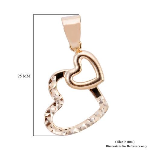 Royal Bali Collection - 9K Yellow Gold Diamond Cut Double Heart Pendant