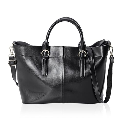 Limited Collection  100% Genuine Leather Black Colour Tote Bag with Removable Shoulder Strap (Size 38x32x24x13 Cm)
