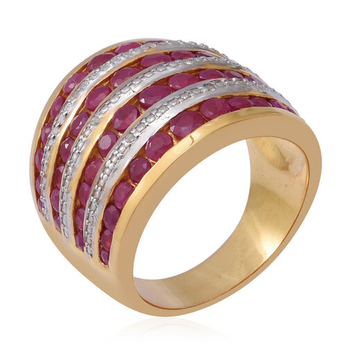 Burmese Ruby and Natural Cambodian Zircon Ring in Two Tone Overlay Sterling Silver 3.85 Ct, Silver wt 10.70 Gms