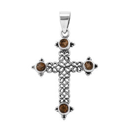 Royal Bali Collection Citrine (Rnd) Cross Pendant in Sterling Silver 1.030 Ct, Silver wt 3.22 Gms.
