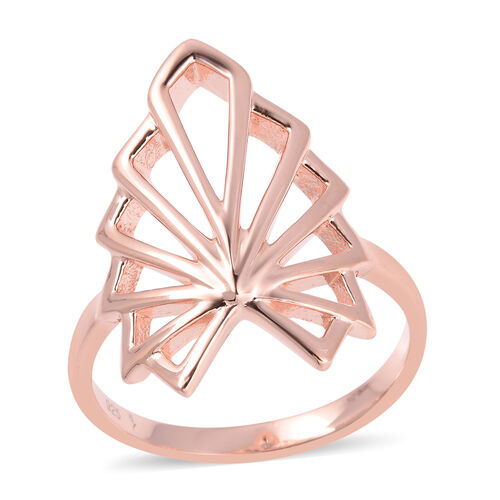 Lucy Q Rose Gold Overlay Sterling Silver Skeleton Angel Wing Ring