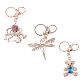Set of 3 - Multicolour Austrian Crystal and Simulated Pearl Octopus, Dragonfly and Teddy Bear Enamel