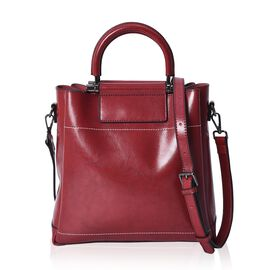 100% Genuine Leather Wine Red Colour Tote Bag with Detachable Shoulder Strap (Size 27x12x28 Cm)
