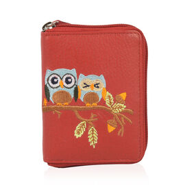 Happy Owl Embroidered 100% Genuine Leather Owl Pattern Red Colour Wallet with RFID Blocking (Size 11x2x8 Cm)