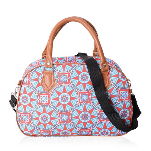 Red and Blue Colour Gear Pattern Tote Bag with Removable Shoulder Strap (34.5x23x13.5 Cm).