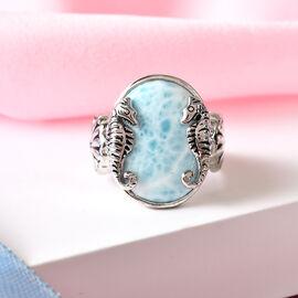 Sajen Silver Larimar Enamelled Seahorse Ring in Platinum Overlay Sterling Silver 10.40 Ct.