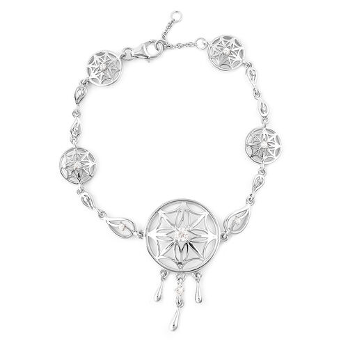LucyQ - Natural Cambodian Zircon (Rnd) Dream Catcher Bracelet (Size 7 with 1 inch Extender) in Rhodium Overlay Sterling Silver, Silver wt. 11.19 Gms
