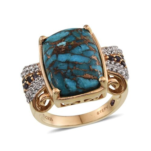 Stefy Blue Turquoise (Cush 11.00 Ct), Iolite, Pink Sapphire and White Topaz Ring in 14K Gold Overlay Sterling Silver 11.510 Ct.