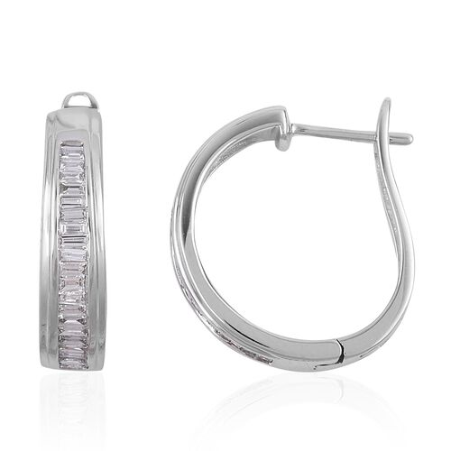 ILIANA 18K White Gold IGI Certified Diamond (Bgt) (SI/G-H) Hoop Earrings (with Clasp) 0.500 Ct.Gold