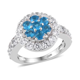 2.28 Ct Neon Apatite and Cambodian Zircon Floral Ring in Platinum Plated Sterling Silver 4 Grams