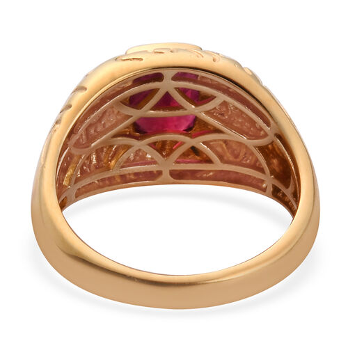 African Ruby Solitaire Ring in 14K Gold Overlay Sterling Silver 2.00 Ct, Silver wt 5.59 Gms