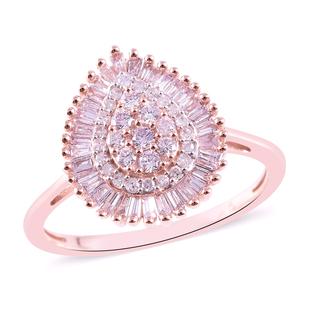 9K Rose Gold Natural Pink Diamond Dual Halo Ring 0.500 Ct.