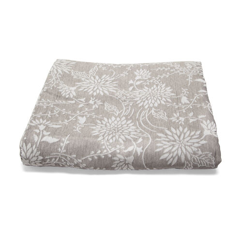 Egyptian Cotton King Size Pique Bedcover with Floral Motif, Made in Portugal (Size 240X260 cm) - Grey