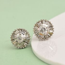 9K White Gold SGL Certified Diamond (I3/G-H) Stud Earrings (with Push Back) 0.50 Ct.