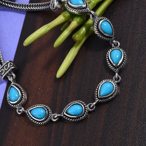 Arizona Sleeping Beauty Turquoise (Pear) Adjustable Bracelet (Size 8 with Extender) in Sterling Silver.Silver wt 10.00 Gms