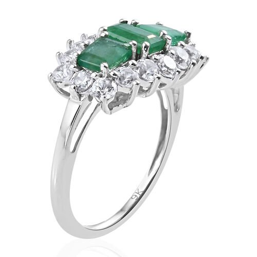 9K White Gold AA Kagem Zambian Emerald (Oct), Natural Cambodian Zircon Ring 3.11 Ct.