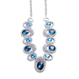 Simulated Aquamarine and Simulated Mystic White Crystal Necklace (Size 24 with Extender) in Silver T