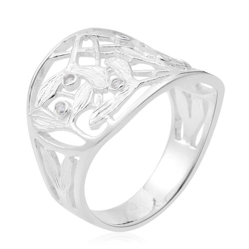 ELANZA Simulated White Diamond (Rnd) Ring in Sterling Silver, Silver wt 4.90 Gms.
