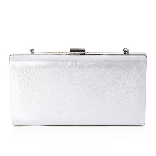 Luxe Silver Colour White Glass Pearls and White Crystal Embellished Clutch Bag (Size 21x11x4 Cm)