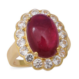 African Ruby and Natural Cambodian Zircon Ring in Yellow Gold Overlay Sterling Silver 14.51 Ct, Silv
