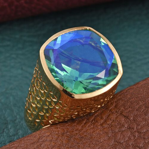 Peacock Quartz (Cush) Ring in 14K Gold Overlay Sterling Silver 15.000 Ct.