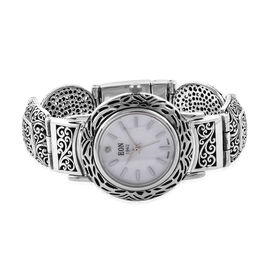 Diamond Studded, 3 Atmospheres, Royal Bali Collection EON 1962 Swiss Movement Sterling Silver Bracel