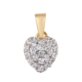 J Francis - 14K Gold Overlay Sterling Silver (Rnd) Pendant Made with SWAROVSKI ZIRCONIA 0.336 Ct.