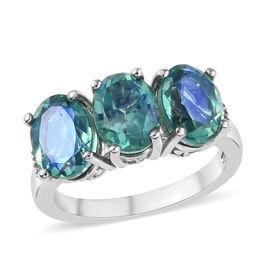 Peacock Quartz (Ovl), Diamond Ring in Platinum Overlay Sterling Silver 4.25 Ct.