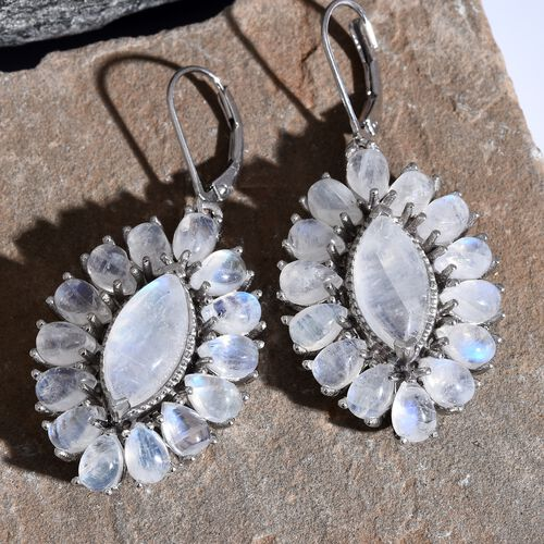Sri Lankan Rainbow Moonstone (Mrq) Drop Lever Back Earrings in Platinum Overlay Sterling Silver 23.750 Ct. Silver wt 8.46 Gms.