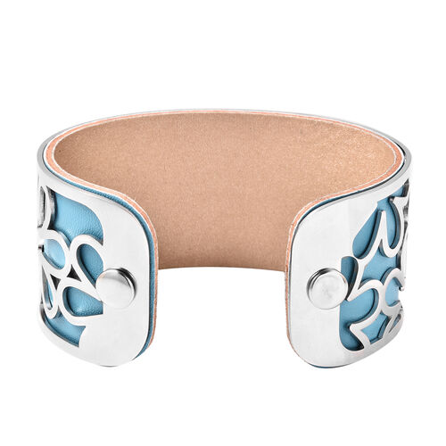 Designer Inspired-Floral Pattern Cuff Bangle (Size 7.5) in Stainless Steel