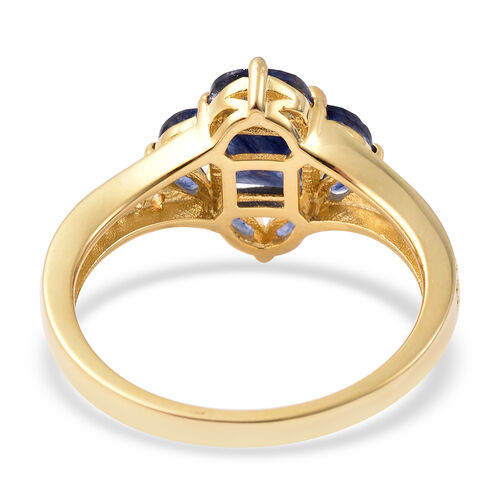 Isabella Liu Floral Collection - Masoala Sapphire and Natural Cambodian Zircon Ring in Yellow Gold Overlay Sterling Silver