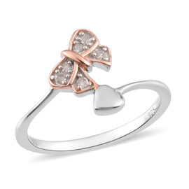 Diamond Bow and Heart Ring in Rose Gold and Platinum Overlay Sterling Silver