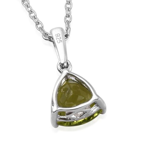 AA Hebei Peridot Pendant With Chain (Size 20) in Platinum Overlay Sterling Silver 2.00 Ct.