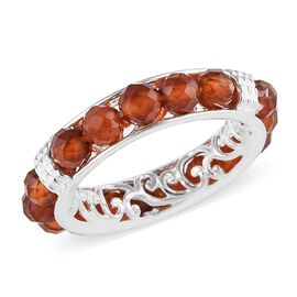 Ratnapura Hessonite Garnet Band Ring in Sterling Silver 6.25 Ct.