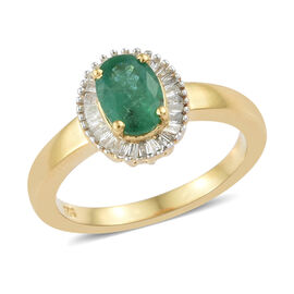 Kagem Zambian Emerald (Ovl), Diamond (0.250 Ct.) Ring (Size N) in Yellow Gold Overlay Sterling Silver 1.000 C