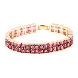 Simulated Rubellite (Sqr) Bracelet (Size 7.5) in Yellow Gold Tone