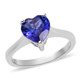 RHAPSODY 2 Carat AAAA Tanzanite Heart Solitaire Ring in 950 Platinum 4.32 Grams