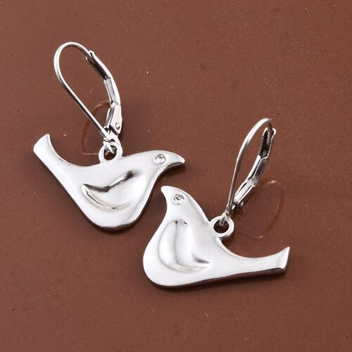 Platinum Overlay Sterling Silver Birds Lever Back Earrings, Silver wt 3.81 Gms.