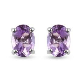 Rose De France Amethyst Stud Earrings (with Push Back) in Platinum Overlay Sterling Silver 1.420 Ct.