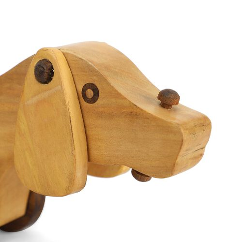 Handcrafted Wooden Dog Toy with Wheels (Size 31X10 CM)