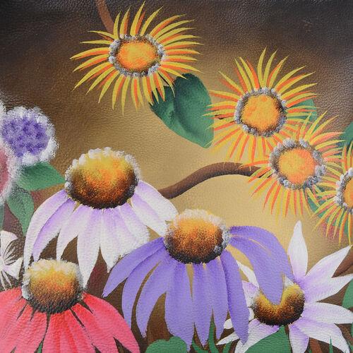 SUKRITI, Meaning Beautiful Creation -  Garden Wonderland Hand Painting 100% Genuine Leather Flower Cross body Handbag with Adjustable Strap (Size 26.5x26.5 Cm)